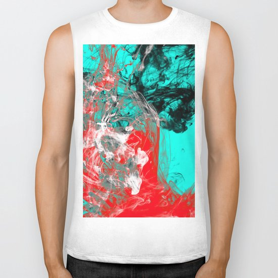Marbled Collision - Abstract, red, blue, black and white mixed paint artwork Biker Tank