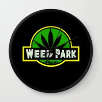 jurassic park Wall Clocks featuring Weed Park Jurassic style  by Spyck