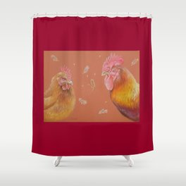 ROOSTER and HEN Farm animals Domestic birds illustration Shower Curtain