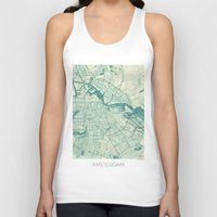 vintage map Tank Tops featuring Amsterdam Map Blue Vintage by City Art Posters