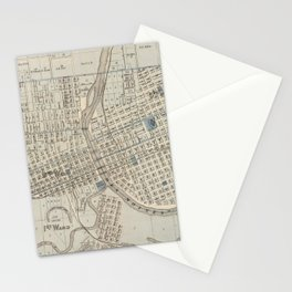 Vintage Map of Des Moines IA (1875) Stationery Cards