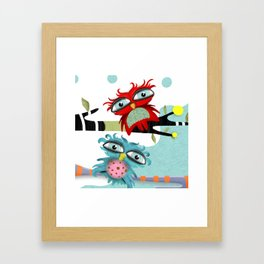 TWO OWLS CHILLING IS FABULOUS Framed Art Print