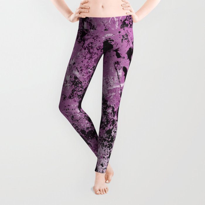 Abstract Texture Deux - Purple, White and Black Leggings