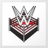 wwe Art Prints featuring WWE Ring Logo by CmOrigins