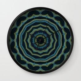 Little Olive Heart on Blue Mandala 3 Wall Clock