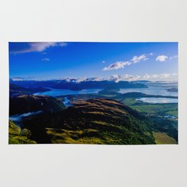 lake wanaka covered in blue colors new zealand beauties Rug