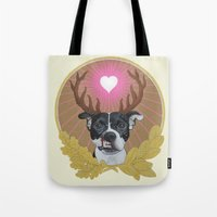 pitbull Tote Bags featuring Jaggermeister - pitbull by PaperTigress