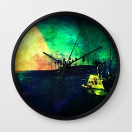 Boat At Oceanside: Night Turns To Day Wall Clock