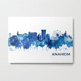 Anaheim California Skyline Blue Metal Print