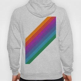 White & Rainbow Stripe Hoody