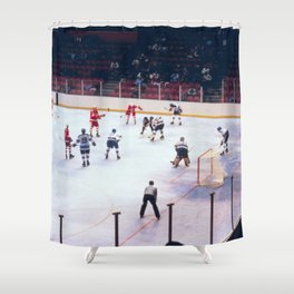 Vintage Ice Hockey Match Shower Curtain