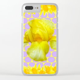 ABSTRACT YELLOW SPRING IRIS GOLDEN DAFFODILS FRAME Clear iPhone Case