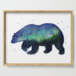 Polar Bear Silhouette with Northern Lights Galaxy Serving Tray