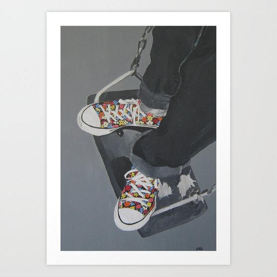 Flowered Converse shoes on a swing Art Print