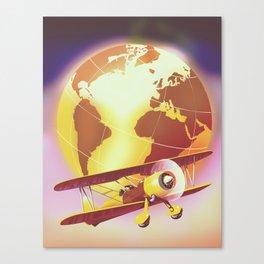 Vintage Plane and Globe Canvas Print