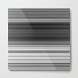 Black White Gray Thin Stripes Metal Print