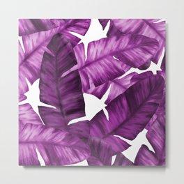 Pink Tropical Banana Leaves Pattern Metal Print
