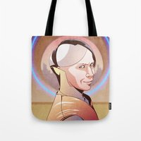 fifth element Tote Bags featuring Chaos (Zorg - The Fifth Element) by Pana Stamos