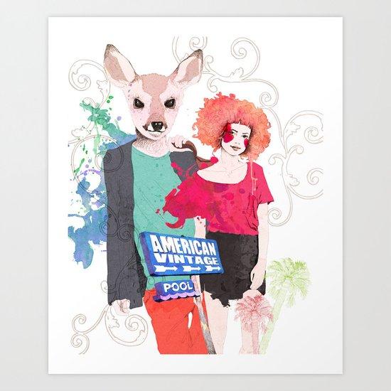 Deer and Red head Art Print