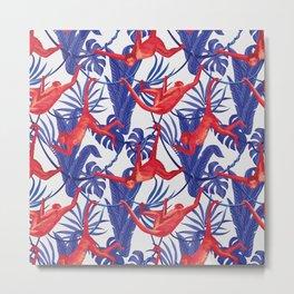 red monkey blue leaves pattern Metal Print