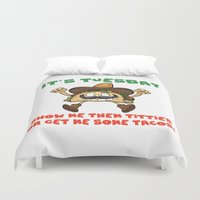 taco Duvet Covers featuring Taco Tuesday by Fuzzy Eggs