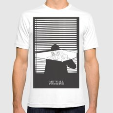 Man in the Mask -Watching your Walls Mens Fitted Tee MEDIUM White