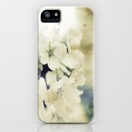 Yellow Green Vintage Cherry Flowers iPhone Case
