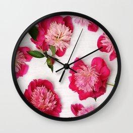 Floral arrangement of peonies Wall Clock