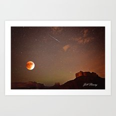 Sedona Blood Moon Eclipse with Shooting Star Art Print
