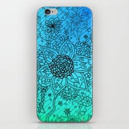 Flower Zen: Blue-Green Fade iPhone Skin