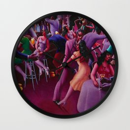 African-American Classical Masterpiece 'Nightlife' by Archibald Motley Wall Clock