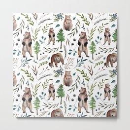Bears, trees, and leaves pattern Metal Print
