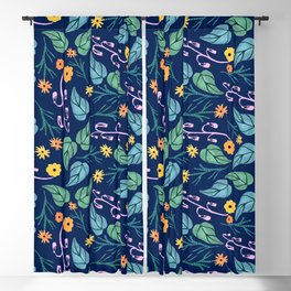 Watercolour dark blue seamless pattern background with whimsical flowers. Blackout Curtain
