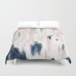 Blush Pink and Blue Pretty Abstract Duvet Cover