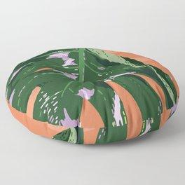 Daytime Monsters - Tropical Monstera Deliciosa Illustration Floor Pillow