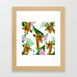 Giraffe floral pattern Framed Art Print