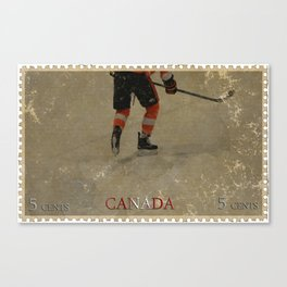 Taking to the Ice - Ice Hockey Postage Stamp Art Canvas Print