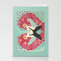 flamingos Stationery Cards featuring Flamingos  by ArtLovePassion