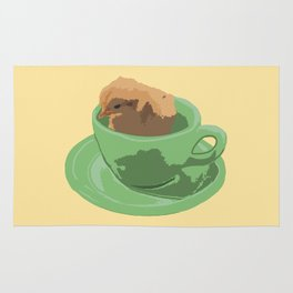 Baby Chick in Jadeite Cup Illustration Rug
