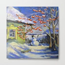 Morning snowman in the village Metal Print