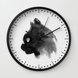 Cat Portrait (Ink Painting) Wall Clock
