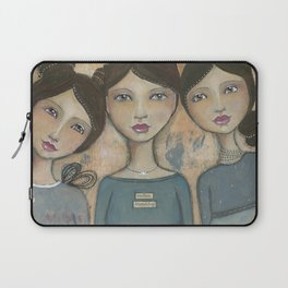 Endless Friendship, whimsical folkart inspired mixed media painting Laptop Sleeve