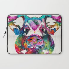 Colorful Pig Art - Squeal Appeal - By Sharon Cummings Laptop Sleeve