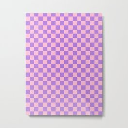 Cotton Candy Pink and Lavender Violet Checkerboard Metal Print