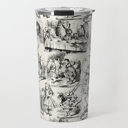Alice in Wonderland | Toile de Jouy Pattern | Black | Beige | Vintage Pattern | Victorian Gothic | Travel Mug