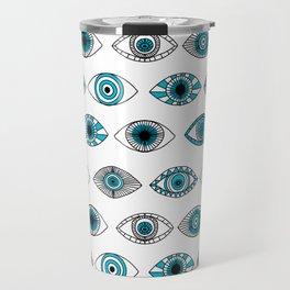 Evil eyes - eye pattern, eyes, doodle, eye drawing, talisman, greek, turkey, turkish,  Travel Mug
