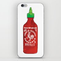 sriracha iPhone & iPod Skins featuring HOT SAUCE by RUMOKO x Vintage Cheddar