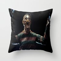 freddy krueger Throw Pillows featuring Freddy Krueger by TJAguilar Photos