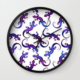 Decorative stylish white shiny blue violet purple lizard pattern. Beautiful delicate colorful crawling lizards. Gift ideas for lizard lovers & herpetologist. Wall Clock