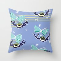 sandman Throw Pillows featuring Sandman by Wyldbloom